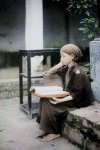 Bac Ky, Hanoi, 1915 - Little girl reciting sutras in the courtyard of Vien Minh pagoda. Photo ...jpg